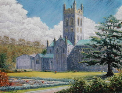 Early Spring, Buckfast Abbey, 2001 (pastel on paper) by Anthony Rule - print