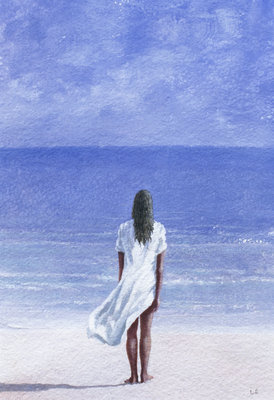 Fine Art Print of Girl on beach, 1995 by Lincoln Seligman