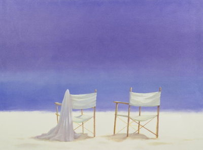 Chairs on the beach, 1995 (acrylic on canvas) by Lincoln Seligman - print