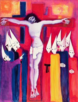 Christ and the Politicians, 2000 (acrylic on canvas) by Laila Shawa - print