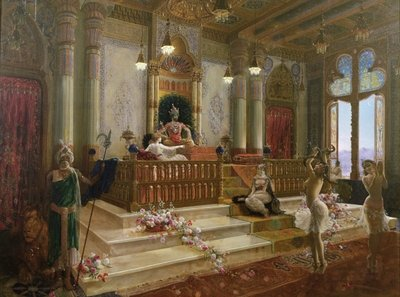 Fine Art Print of The Maharajah's Favourite, c.1870 by Charles Albert Pesnelle