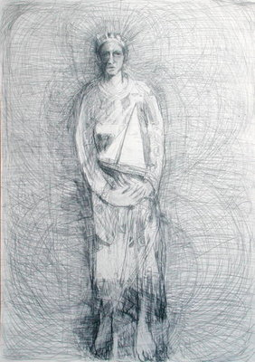 Boat Guardian, 2002 (pencil on paper) by Sue Jamieson - print
