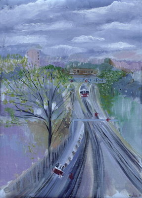 Hammersmith to Barons Court, 1996 (oil on canvas) by Sophia Elliot - print