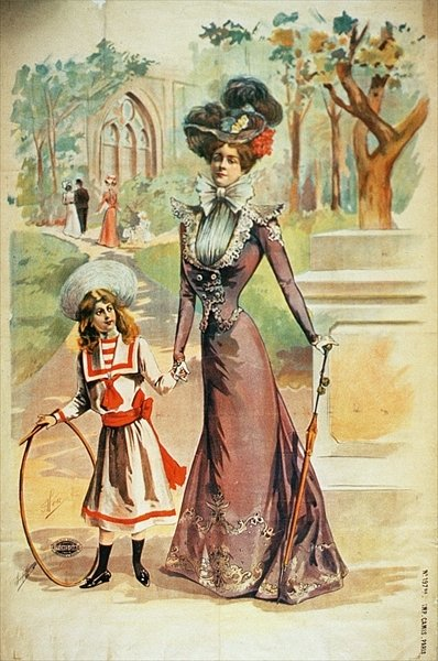 Fine Art Print of Mother and daughter on a walk by French School