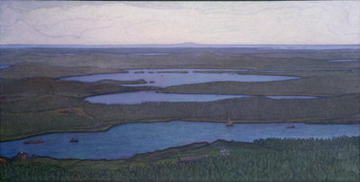 Over Forest and Lake, 1908 Poster Art Print by Otto Hesselbom