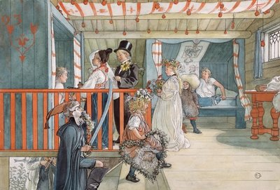 Fine Art Print of A Day of Celebration, from 'A Home' series, c.1895 by Carl Larsson