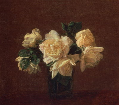 Fine Art Print of Yellow Roses by Ignace Henri Jean Fantin-Latour