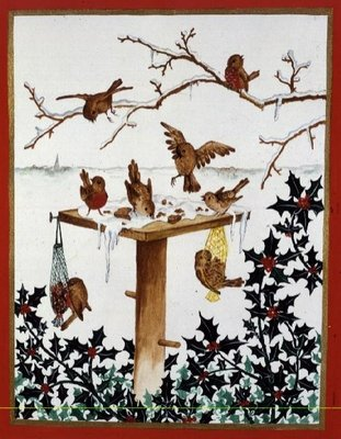 Robins and Sparrows at the Bird Table by Jeanne Maze - print