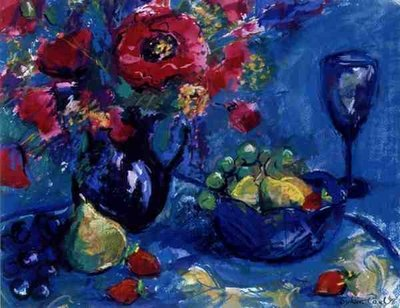 Fine Art Print of Still Life with Blue Glass, 1999 by Sylvia Paul