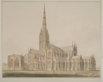 Fine Art Print of South East View of the Salisbury Cathedral and Chapter House, 1803 by John Buckler