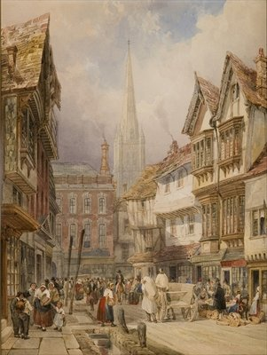 Fine Art Print of Minster Street, Salisbury by Thomas Shotter Boys