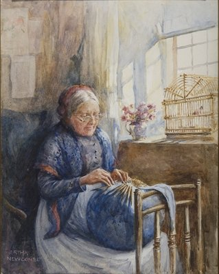Painting of a Downton Lace Maker Poster Art Print by Bertha Newcombe