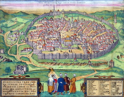 Map of Jerusalem, from 'Civitates Orbis Terrarum' by Georg Braun Poster Art Print by Joris Hoefnagel