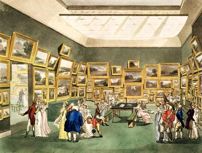 Fine Art Print of Exhibition of Watercoloured Drawings by the Society of Painters in Watercolours, from 'The Microcosm of London', engraved by J. C. Stadler by T. Rowlandson