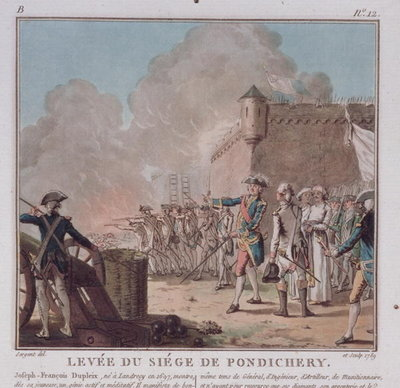 Fine Art Print of Lifting of the Siege of Pondicherry, 1748, engraved 1789 by Antoine Louis Francois Sergent-Marceau