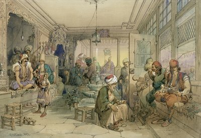 A Coffee House, Constantinople, 1854 Poster Art Print by Amadeo Preziosi