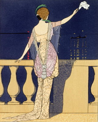 Farewell at Night, design for an evening dress by Paquin Poster Art Print by Georges Barbier