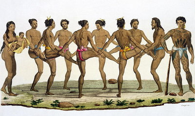 Fine Art Print of Dance of the Caroline Islanders, plate 22 from 'Le Costume Ancien et Moderne' by Jules Ferrario, published c.1820s-30s by Felice Campi