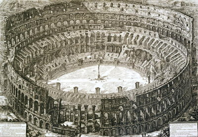 Aerial view of the Colosseum in Rome from 'Views of Rome', first published in 1756, printed Paris 1800 Poster Art Print by Giovanni Battista Piranesi
