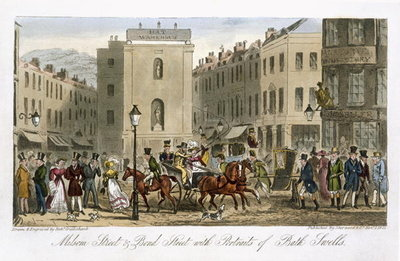 Fine Art Print of Milsom Street & Bond Street with Portraits of Bath Swells, from 'The English Spy', by Charles Molloy Westmacott by Isaac Robert Cruikshank
