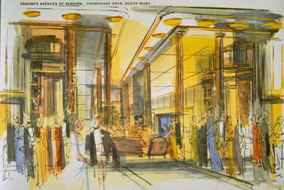 Fine Art Print of Promenade Deck aboard the Queen Mary, from 'Esquire's Avenues of Fashion' by English School