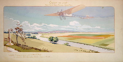 Fine Art Print of Comte Charles de Lambert in a Bleriot Monoplane flies the West Circuit, published by Mabileau, Paris, 1910 by Marguerite Montaut