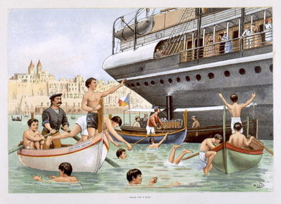 Fine Art Print of Malta, Heave for a Dive, from 'P & O Pencillings' by W. Lloyd