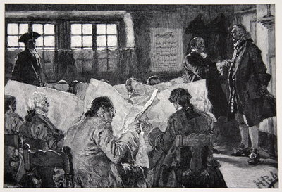 Fine Art Print of In the Reading Room of a New York Coffee House by Howard Pyle