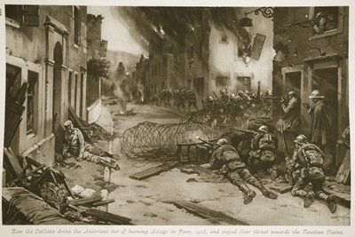 How the Italians drove the Austrians out of burning Asiago in June, 1916, and stayed their thrust towards the Venetian Plains Poster Art Print by English School