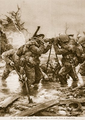 In the Slough of the Somme: Rescuing a comrade from a shell-hole Poster Art Print by English School