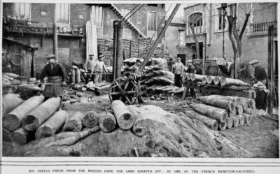 Big Shells fresh from the moulds have the sand scraped off: at one of the French munition-factories, from 'The Illustrated War News' Poster Art Print by French Photographer