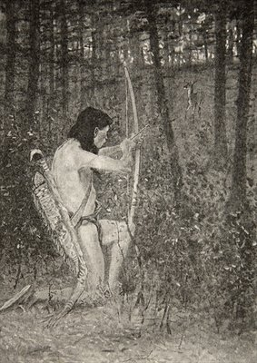 Fine Art Print of Then, upon one knee uprising, Hiawatha aimed an arrow, from The Song of Hiawatha by Henry Wadsworth Longfellow by Frederic Remington