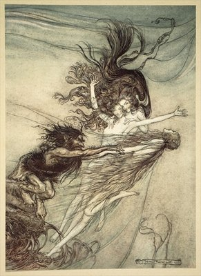 Fine Art Print of The Rhinemaidens teasing Alberich, illustration from 'The Rhinegold and the Valkyrie', 1910 by Arthur Rackham