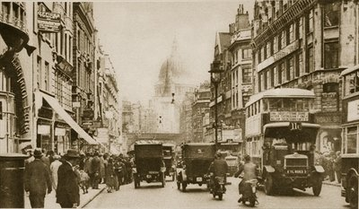 Fleet Street in 1926 Poster Art Print by English Photographer
