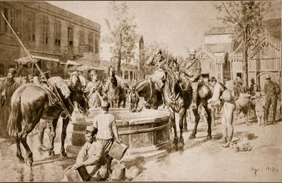 Fine Art Print of Water for man and beast: a typical scene in Salonika, 1914-19 by English School