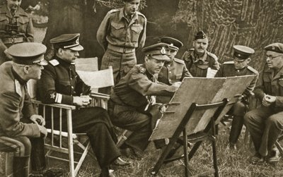 Lieutenant General Dempsey, Commander of the British Second Army, explains to Soviet officers the state of affairs on the Western Front, 1944 Poster Art Print by English Photographer