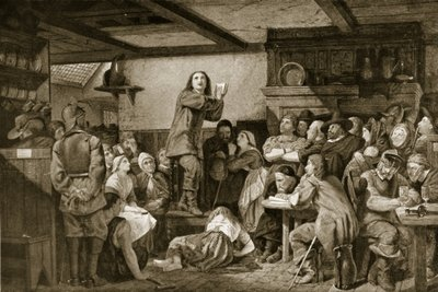George Fox preaching in a tavern, c.1650 Poster Art Print by Edward Henry Wehnert