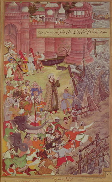 Fine Art Print of A Bridge of boats broken by Akbar by Mughal School