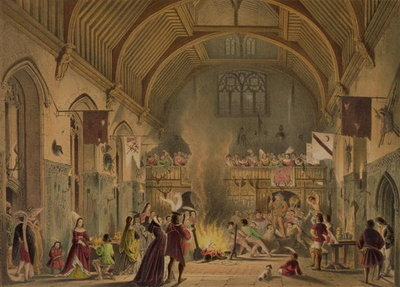 Fine Art Print of Banquet in the baronial hall, Penshurst Place, Kent, from 'Architecture in the Middle Ages', 1838 by Joseph Nash