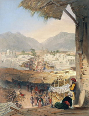 Fine Art Print of City of Kandahar, its Principal Bazaar and Citadel, Taken from the Nakarra Khauneh, or Royal Band Room, plate 28 from 'Scenery, Inhabitants and Costumes of Afghanistan', engraved by Robert Carrick by James Rattray