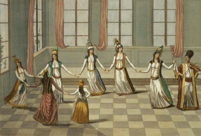 Dance that is fashionable with the Greek women of Constantinople, led by the woman holding a handkerchief, engraved by Ignazio Colombo, c.1816 Poster Art Print by Giacomo Leonardis