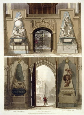 The Entrance into the Choir and the West Entrance, plate 20 from 'Westminster Abbey', engraved by J. Bluck Poster Art Print by Thomas Uwins