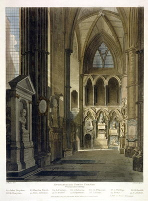 Fine Art Print of Entrance into Poet's Corner, plate 26 from 'Westminster Abbey', engraved by J. Bluck by Augustus Charles Pugin