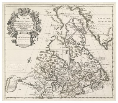 Fine Art Print of Map of Canada or New France, published by Johannes Covens and Cornelius Mortier, c.1730 by Guillaume Delisle