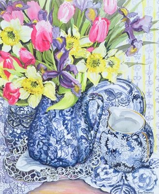 Daffodils, Tulips and Irises with Blue Antique Pots Poster Art Print by Joan Thewsey