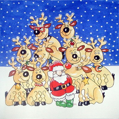 Santa and the Team, 2005 (w/c on paper) by Tony Todd - print