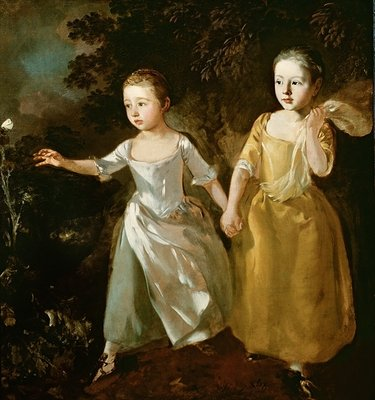 Fine Art Print of The Painter's Daughters chasing a Butterfly, c.1759 by Thomas Gainsborough
