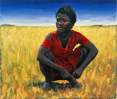 Fine Art Print of Girl in Red, 1992 by Tilly Willis