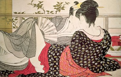 Lovers from the 'Poem of the Pillow', Poster Art Print by Kitagawa Utamaro