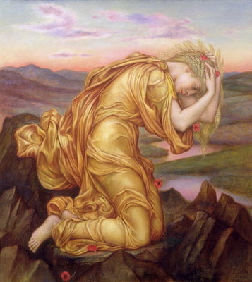 Demeter Mourning for Persephone, 1906 Poster Art Print by Evelyn De Morgan